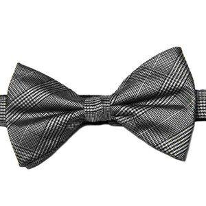 Calvin Klein Glen Plaid Bow Tie Gray Black Men's